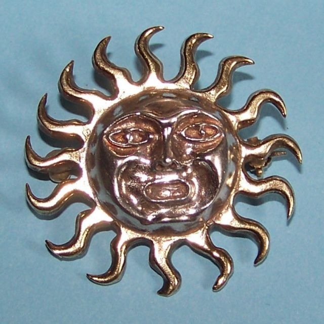 Primary image for Sun face Aztec Mayan st brooch sterling silver Mexico 11.4 grams vintage pin