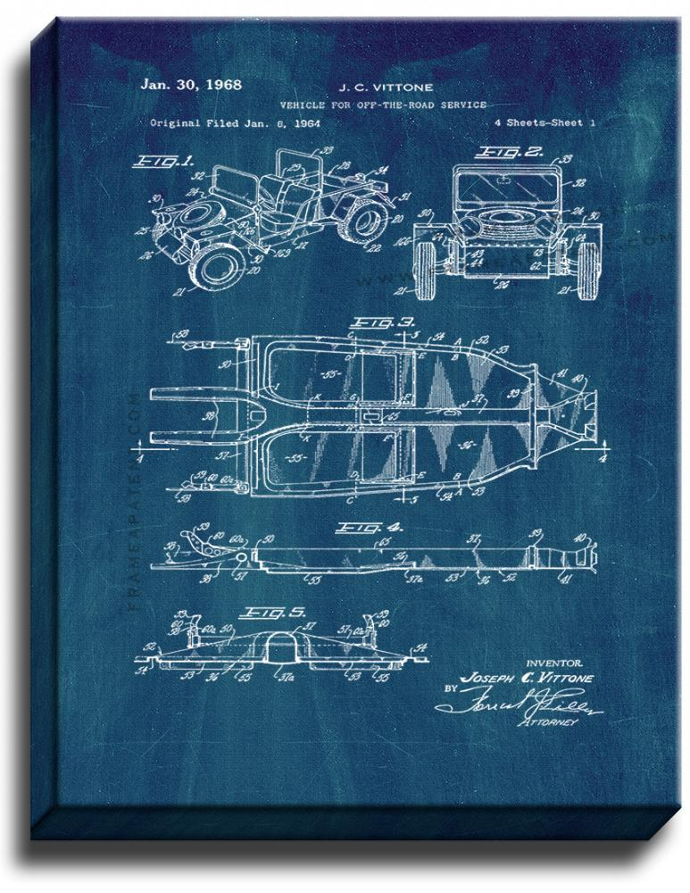 Primary image for Vehicle For Off-the-road Service Patent Print Midnight Blue on Canvas