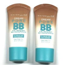 Maybelline Dream Pure BB Acne Treatment Lot of 2, Deep Sheer Tint, Expired - $11.66