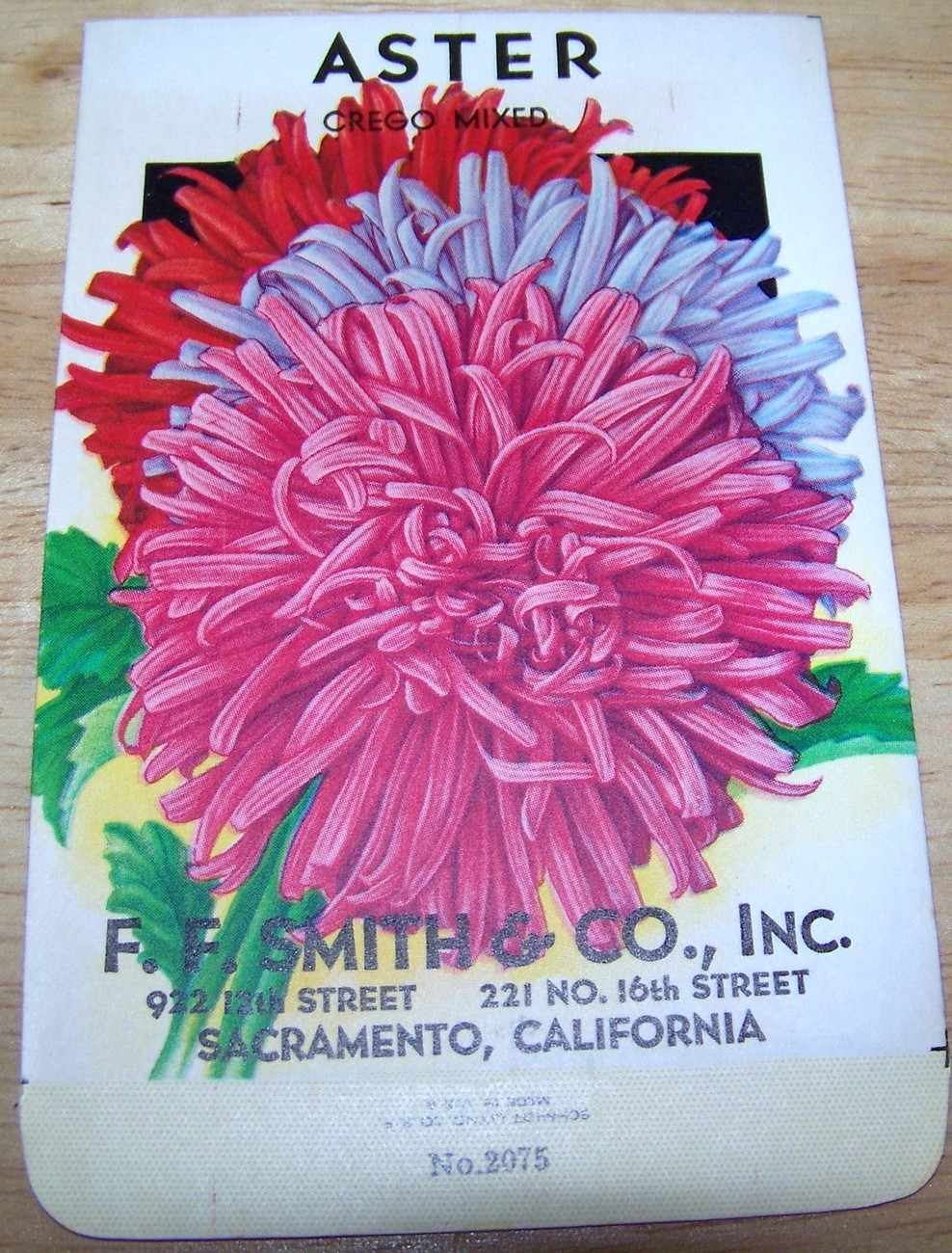 Primary image for Vintage 1920s Seed packet 4 framing Aster Crego Mix FF Smith co Sacramento CA