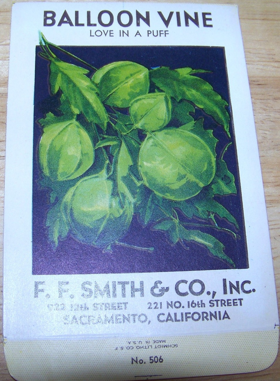 Primary image for Vintage 1920s Seed packet 4 framing Balloon Vine  F F Smith co Sacramento CA