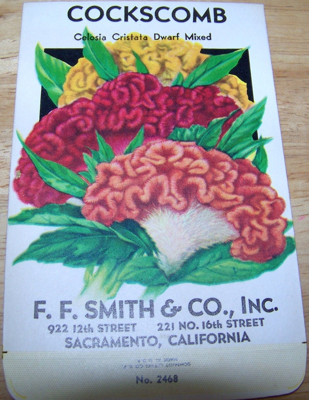 Primary image for Vintage 1920s Seed packet 4 framing Cockscomb Dwarf F F Smith co Sacramento CA