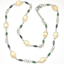 Necklace the Aluminium Long 90 Inch with Seashells Hematite Crystals Green image 2