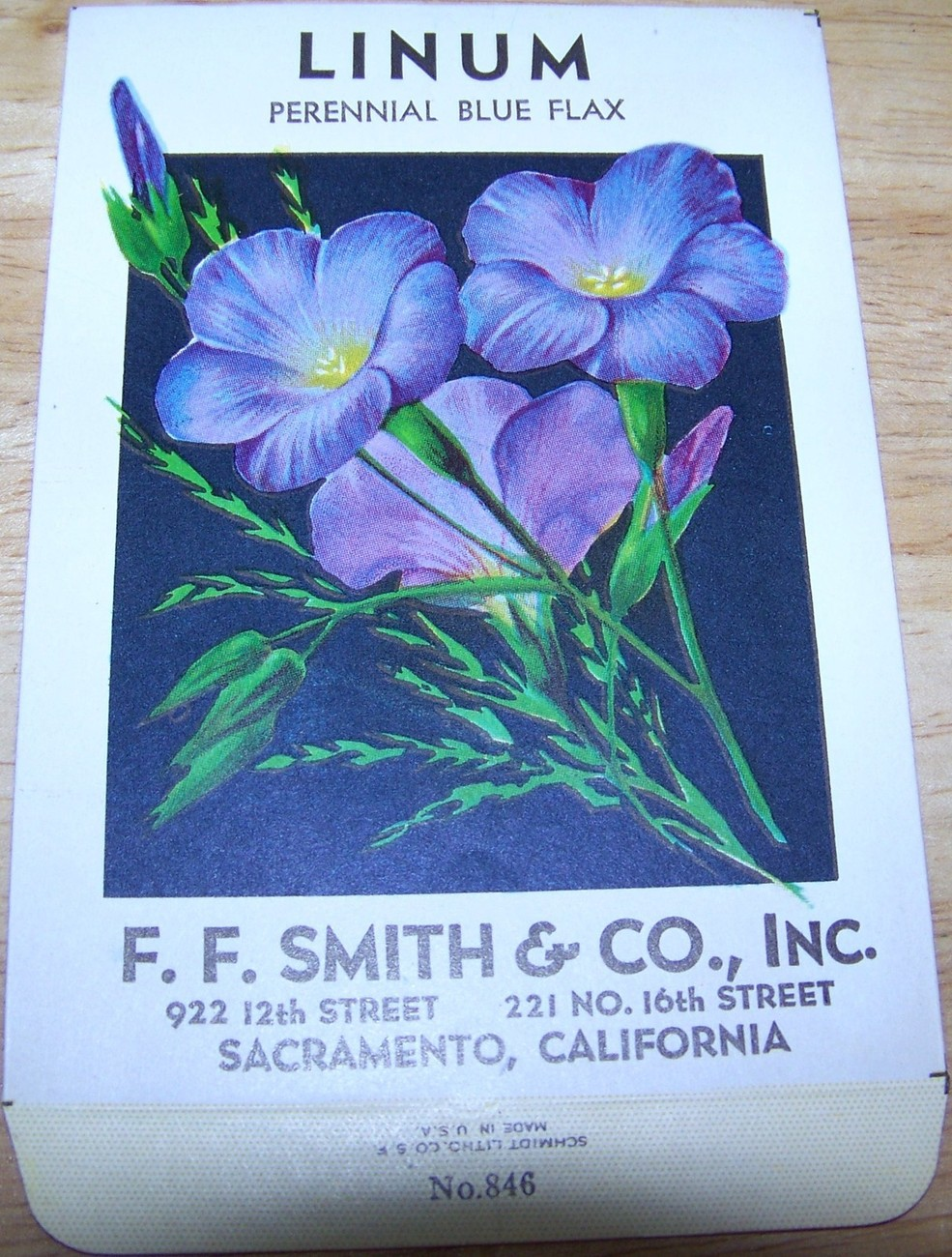 Primary image for  Vintage 1920s Seed packet 4 framing Linum blue flax F F Smith co Sacramento CA
