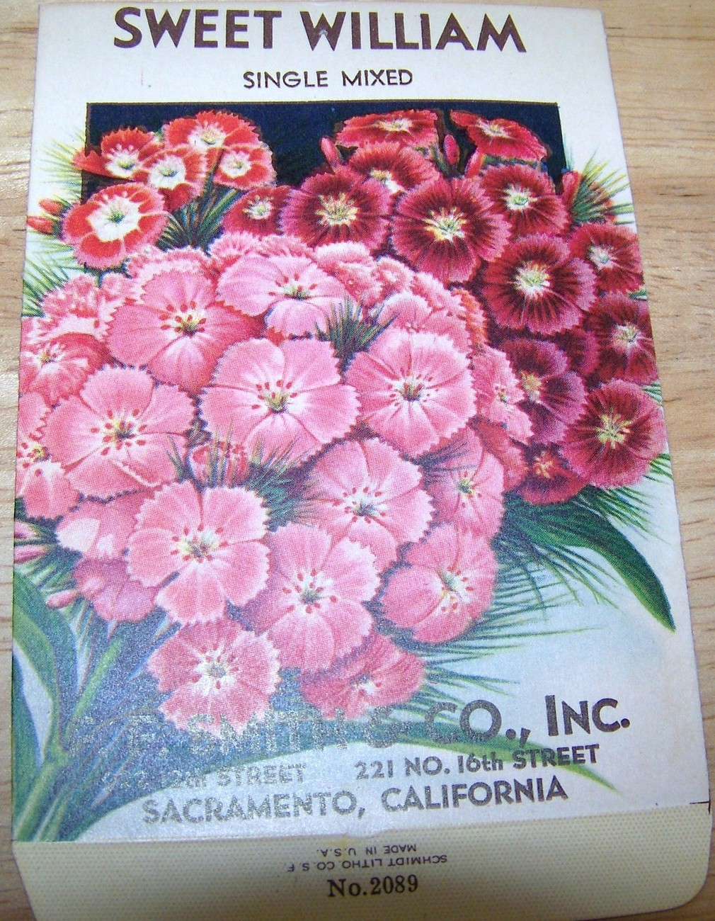 Primary image for  Vintage 1920s Seed packet 4 framing Sweet William F F Smith co Sacramento CA
