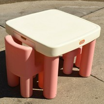 Vintage Little Tikes Child's Pink Chunky Leg Table W/Drawers & Chairs 02... - $99.00