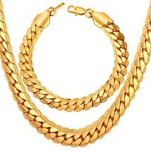 U7 Men Chunky Necklace Bracelet Set 18K Stamp Copper Based Gold Plated 9... - $76.08