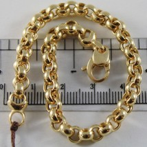 18K YELLOW GOLD BRACELET 7.9 IN, BIG ROUND CIRCLE ROLO LINK 5.5 MM MADE IN ITALY image 1
