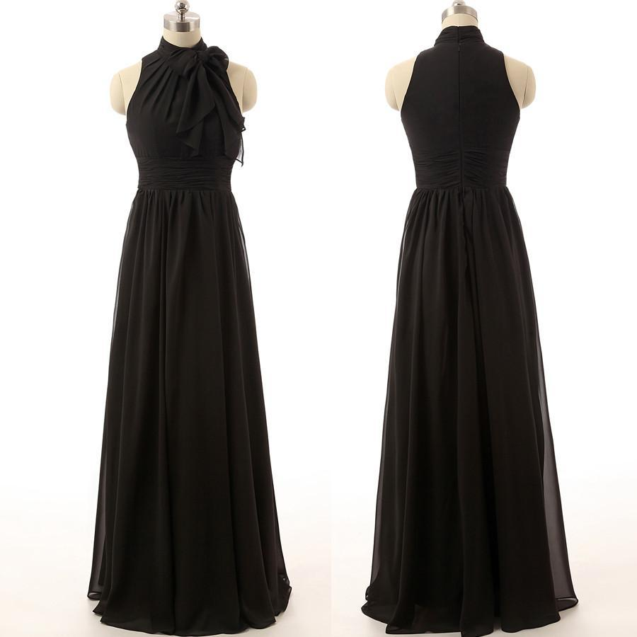 black long chiffon cheap bridesmaid dresses,BD1574