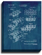Lego Toy Building Block Patent Print Midnight Blue on Canvas - $39.95+