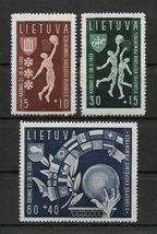1939 Basketball Set of 3 Lithuania Postage Stamps Catalog Number B52-54 MNH