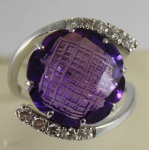 18K WHITE GOLD RING DIAMONDS ct0.38 AMETHYST ct11.50 AMAZING CUT, MADE IN ITALY image 1