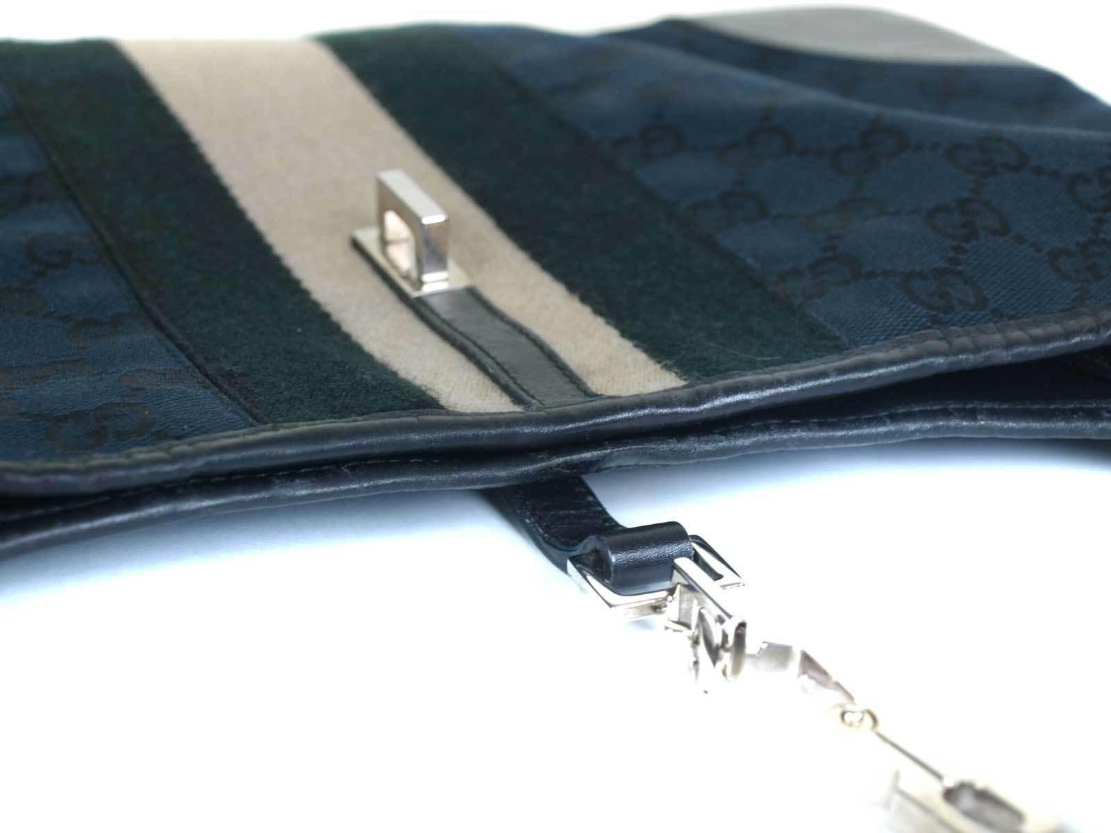 Authentic GUCCI GG Pattern Canvas, Leather Black Shoulder Bag GS16414L