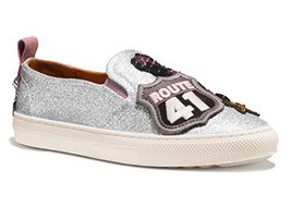 Coach Women's Slip on Shoes Sneakers with Cherry Patches (7.5, Silver)