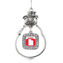 Inspired Silver Utah Outline Classic Snowman Holiday Christmas Tree Ornament Wit - $14.69