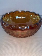 HAZEL ATLAS MARIGOLD CARNIVAL GLASS CHECKERS PATTERN BOWL  W/ PINCHED ED... - $10.00