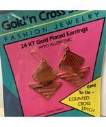 Needleform Geometric Stripe Earrings Gold N Cross Stitch 24KT Gold 14 Ct... - $8.74
