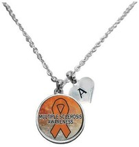 Custom Multiple Sclerosis MS Awareness Sparkle Silver Necklace Jewelry Initial - $15.80