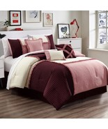 7 Pc Emiko Patchwork Rose Pink/Burgundy/Ivory Bedding Comforter Set Full - $74.99
