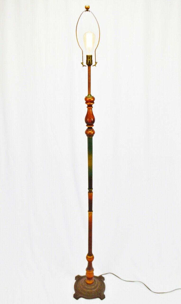 Vintage Art Deco Turned Wood Floor Lamp