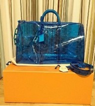 Louis Vuitton Virgil Keepall 50 Bag Hand Shoulder Blue Crystal Bandoulie... - $6,814.25