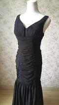 Sexy Black Open Back V Neck Mermaid Prom Dress Black Wedding Bridesmaid Dress image 4