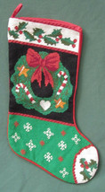 """CHRISTMAS STOCKING WOOL by NEEDLEPOINT BY HAND 20"""" Wreath Holly Berry Sn... - $14.24"""
