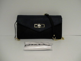 DKNY Women handbag envelope saffiano leather  black & navy blue - $98.95