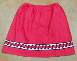 Native American Seminole Womens Patchwork Skirt Short Large Red Black White - $49.99