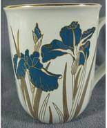 Otagiri Royal Iris Coffee Mug Cup 10oz Blue Flowers Gold Trim - $17.95