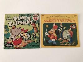 """2 Vintage Walt Disney's Vinyl """"Elmer Elephant & Mickey Mouse Club March ... - $24.30"""