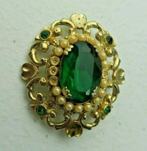 Vintage signed CORO green cabochon & faux pearl gold metal pin brooch - $30.00