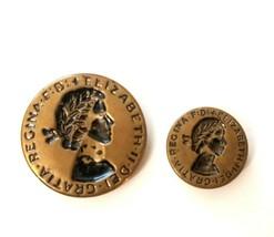 Lot 2 Vintage Brass Queen Elizabeth II Button Dei Gratia Regina F.D. 3/4... - $9.75