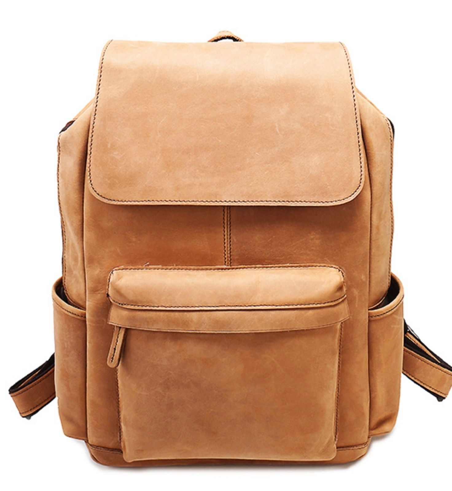 New Tan Crazy Horse Italian Leather Large Backpack Book Bag Man Bag