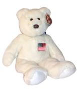 USA American Flag TY Teddy Bear Classic Beanie Buddy White Super Soft - $13.85