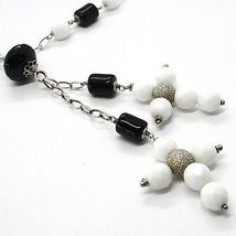 SILVER 925 NECKLACE, ONYX BLACK TUBE, DOUBLE CROSS PENDANT, CHAIN OVAL image 3