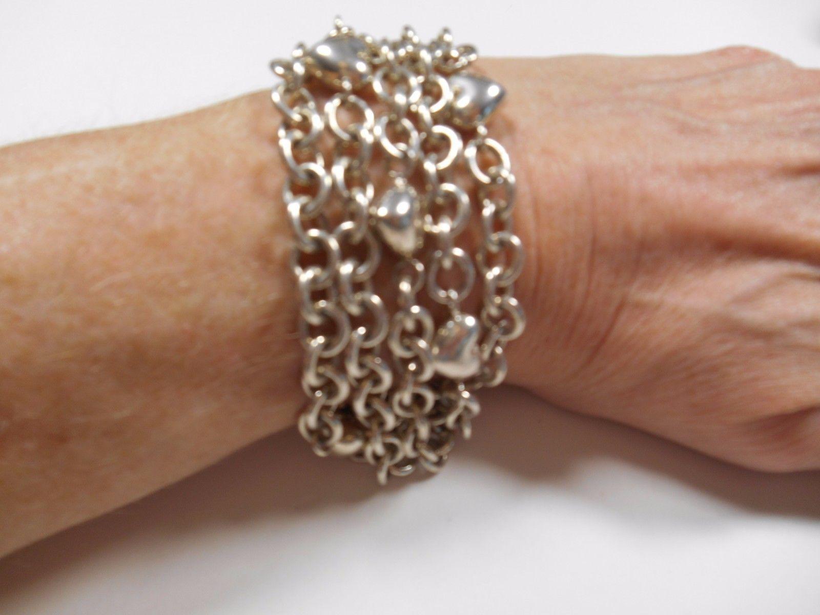 f07db788f TIFFANY & Co Puffed Heart Multi 5 Strand Chain Toggle Clasp Bracelet RARE