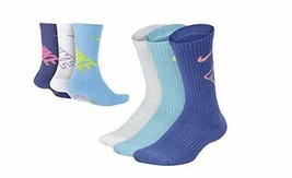 Nike Youth 3PK Performance Cushion Crew Socks S 3Y-5Y SX6959-906 - $19.99
