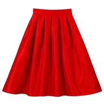 Purple A Line Knee Length Ruffle Party Skirt Women Taffeta Party Pleated Skirt  image 10