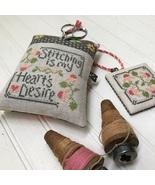 Stitching Is My Heart's Desire cross stitch chart Hands On Design  - $8.00