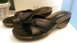 Easy Spirit JPROCKON Black Leather Slip On Wedges Low Heels Sandals Shoe... - $24.74