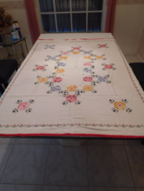 "Tablecloth Embroidered Handmade White 61"" X 48"" 50+ Yrs Old Vint Euc (16) - $35.99"