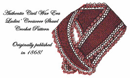 Tricot Crochet Tatting Sontag Crossover Shawl Pattern Antebellum Civil W... - $5.99