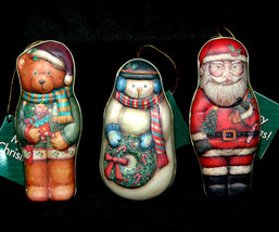 Set of 3 Tin Christmas Tree Ornaments - $10.98