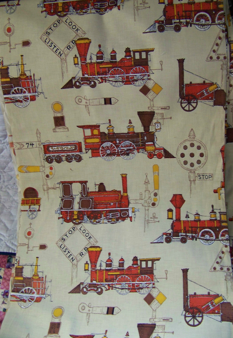 Primary image for Vintage Indian Head Fabric Trains Railroad 25 yard bolt approx 1962 36in wide