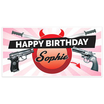 Pink Pistol and Knives Birthday Banner Personalized Party Backdrop - $22.28+