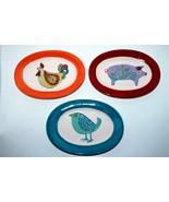 Set of Three Decorative Hand Painted Oval Animal Plates - $15.00