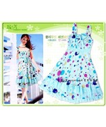 Sleeveless Sweetheart Sky-Blue Polka Dot Dress  - $8.00