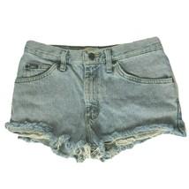 Lee Womens Cutoff Denim Booty Shorts Size 30 Regular Fit Solid Blue Pockets - $26.42