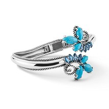925 Silver Turquoise & Blue Topaz Hinged Bypass Cuff Bracelet - Medium - $194.65